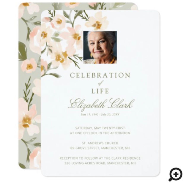 Beautiful Watercolor Florals Celebration of Life Invitation