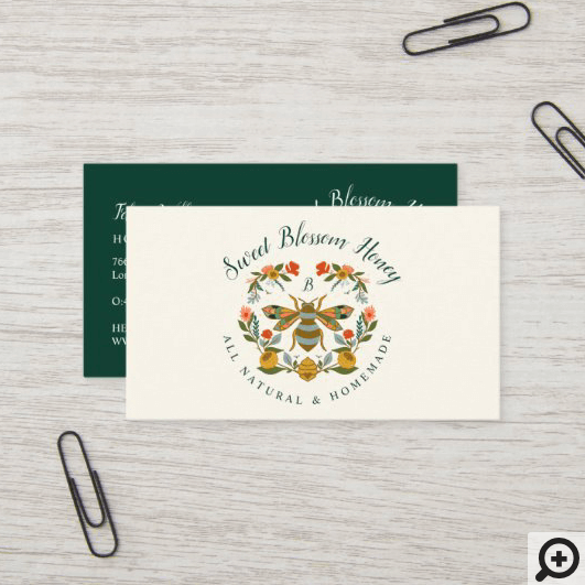 Bees & Bloom Floral Elegant & Decorative Honey Bee Business Card