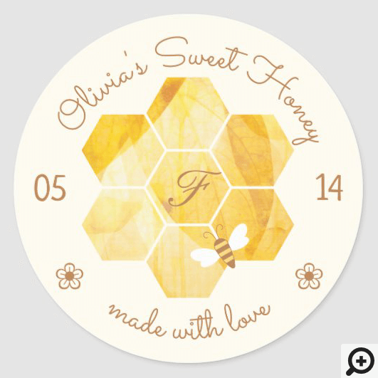 Bees & Bloom Floral Elegant & Decorative Honey Bee Classic Round Sticker Pale Yellow