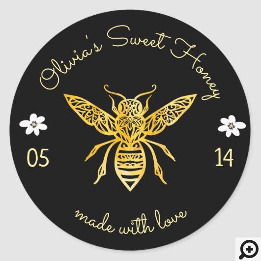 Bees & Bloom Floral Elegant & Decorative Honey Bee Classic Round Sticker