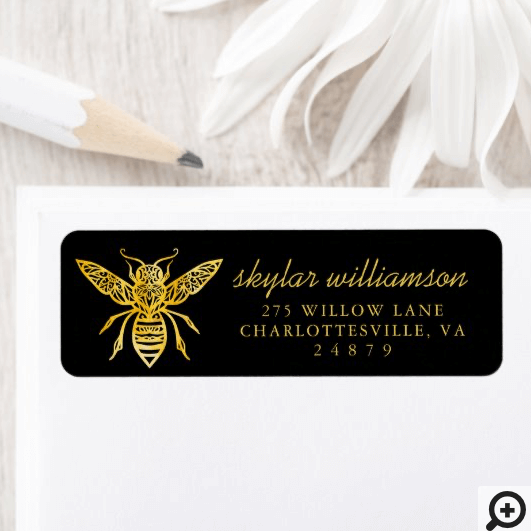 Bees & Bloom Floral Elegant & Decorative Honey Bee Label