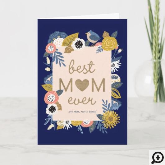 Best Mom Ever Birds & Floral Botanical Frame Card