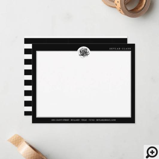 Black & White Stripe Pattern & Modern Rose Note Card