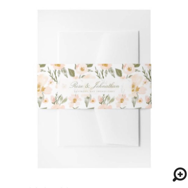 Blush Pink Gardenia Watercolor Floral Pattern Invitation Belly Band
