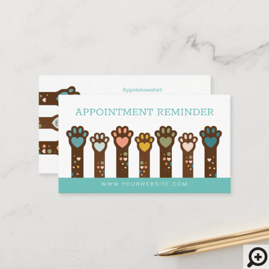 Cute Adorable Heart Shape Animal Pet Paws Appointment Card