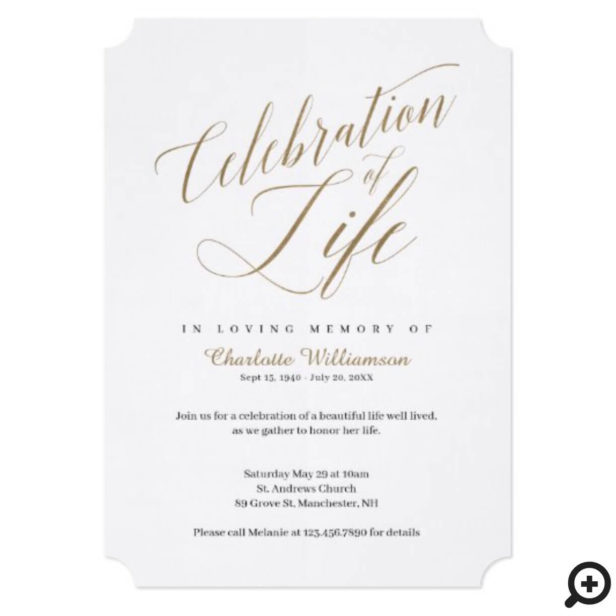 Death Anniversary Celebration of Life Calligraphy Invitation