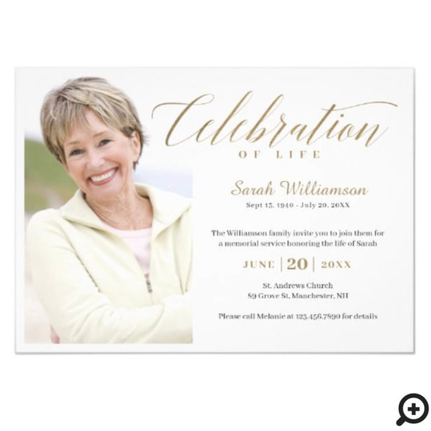 Death Anniversary Celebration of Life Photo Memory Horizontal Invitation