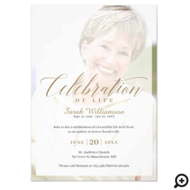 Death Anniversary Celebration of Life Photo Memory Invitation