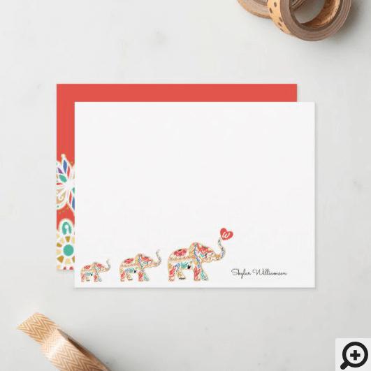Elegant Elephant Train Floral Decorative Ornate Note Card