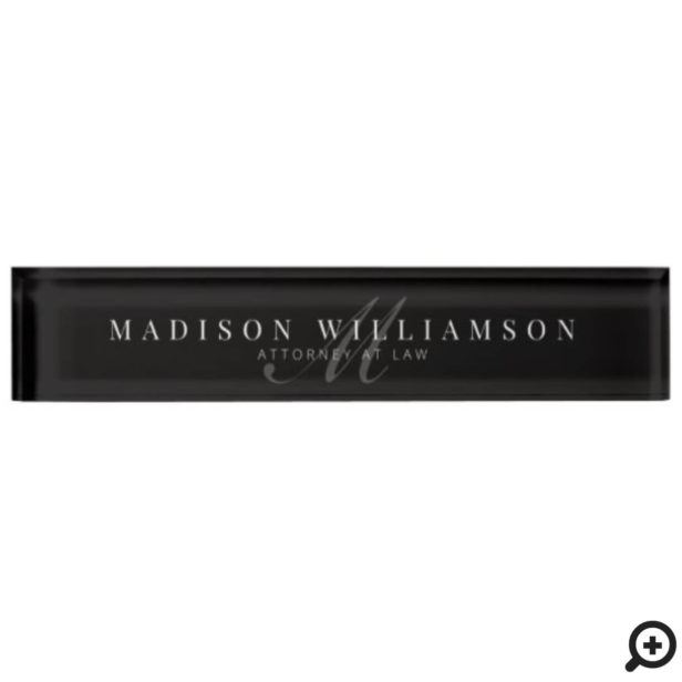 Elegant Minimal Executive Name & Monogram Black Desk Name Plate