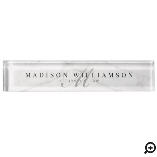 Elegant Minimal Executive Name & Monogram Marble Desk Name Plate