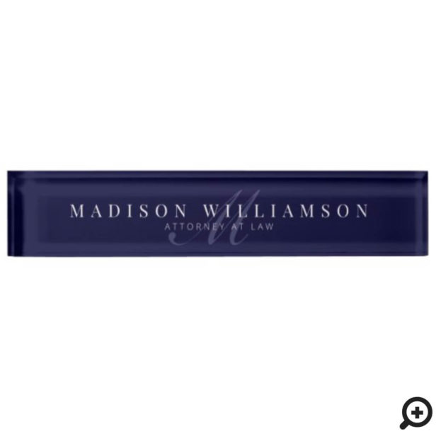 Elegant Minimal Executive Name & Monogram Navy Desk Name Plate