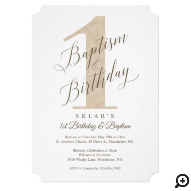 Elegant Script Gold Baby's 1st Birthday & Baptism Invitation