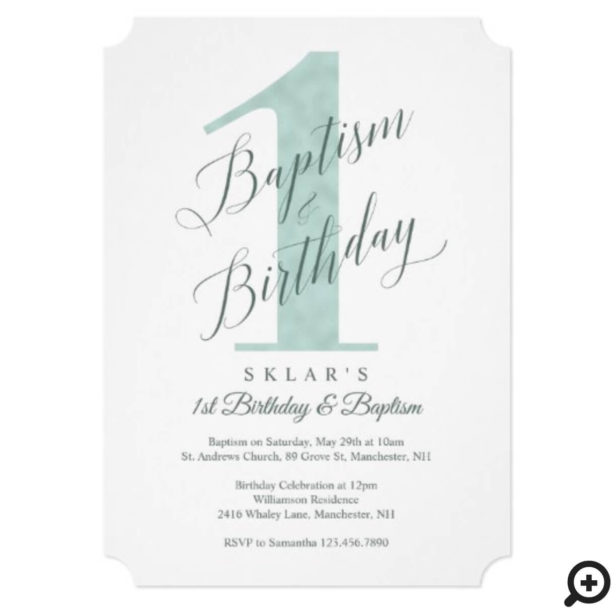 Elegant Script Mint Baby's 1st Birthday & Baptism Invitation