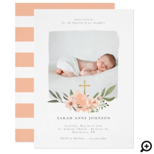 Elegant Watercolour Floral Cross Baptism Photo Invitation