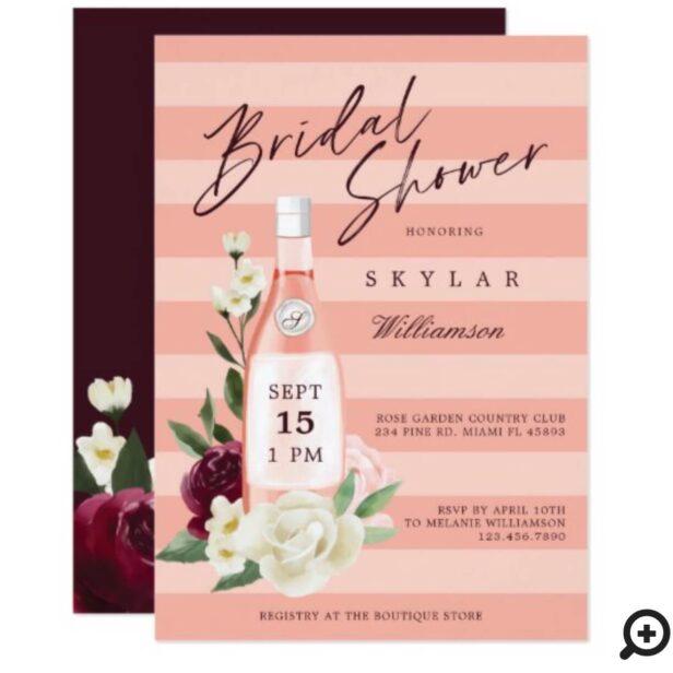 Floral Rose Garden & Wine Bottle Bridal Shower Invitation