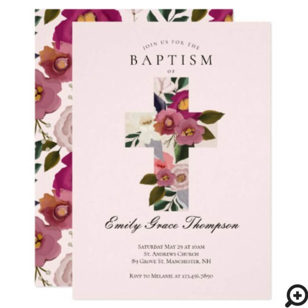 Floral Watercolor Cross Baby 1st Birthday Baptism Invitation