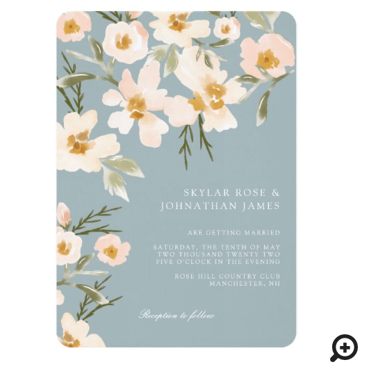 Gardenia Blush Watercolor Abstract Floral Blue Invitation