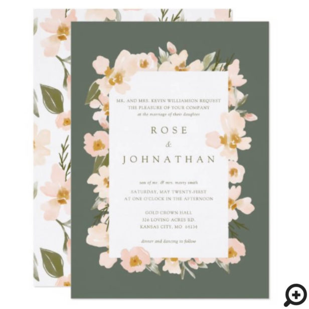 Gardenia Blush Watercolor Abstract Floral Green Invitation