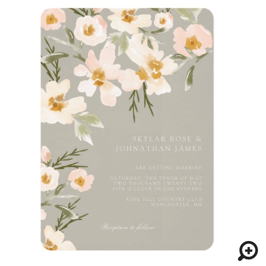 Gardenia Blush Watercolor Abstract Floral Grey Invitation