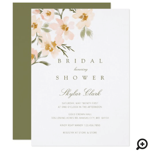Gardenia Blush Watercolor Abstract Floral Bridal Shower Invitation