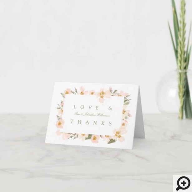Gardenia Blush Watercolor Abstract Floral Love & Thank You Card