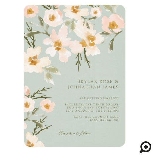 Gardenia Blush Watercolor Abstract Floral Mint Invitation