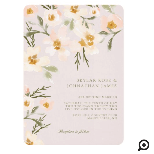 Gardenia Blush Watercolor Abstract Floral Pink Invitation