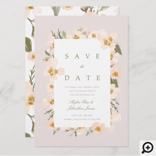 Gardenia Blush Watercolor Abstract Floral Pink Save The Date