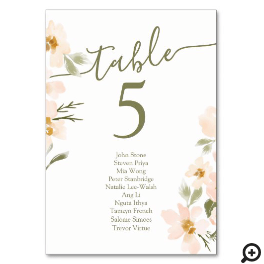Gardenia Blush Watercolor Abstract Florals Table Number