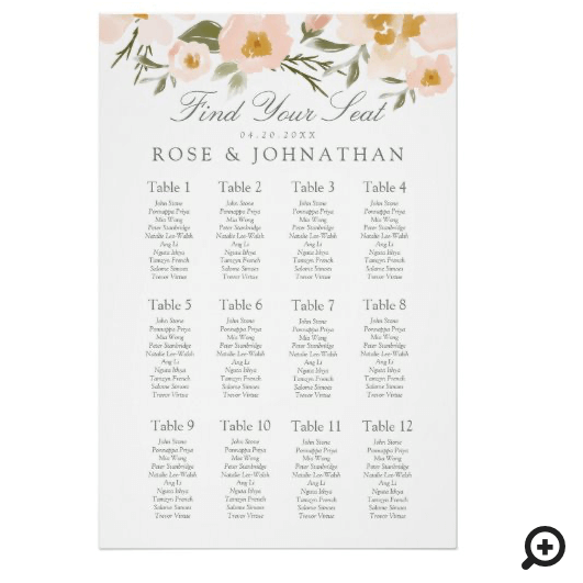 Gardenia Blush Watercolor Florals Find Your Seat Poster
