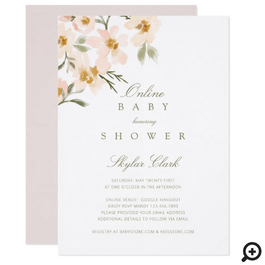 Gardenia Watercolor Florals Online Baby Shower Invitation