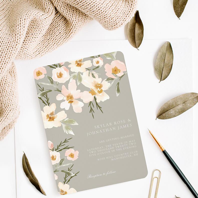 Gardenia Blush WatercolorWeddingCollection By Moodthology Papery