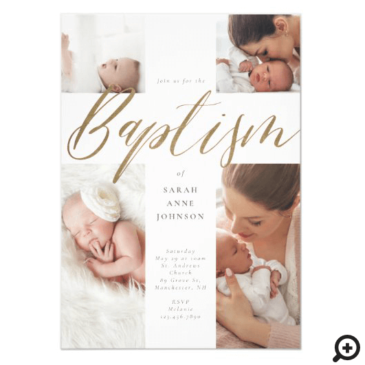 Gold Calligraphy Photo Collage Baby Baptism Cross Invitation