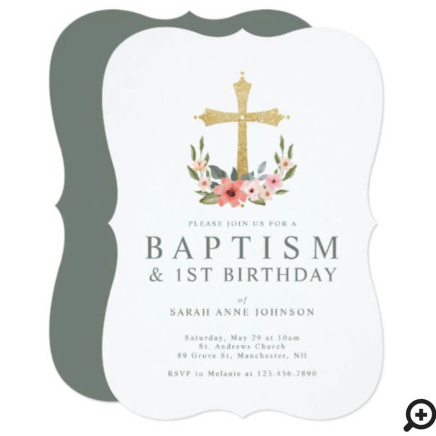 Gold Cross Floral Wreath Baby 1st Birthday Baptism Invitation