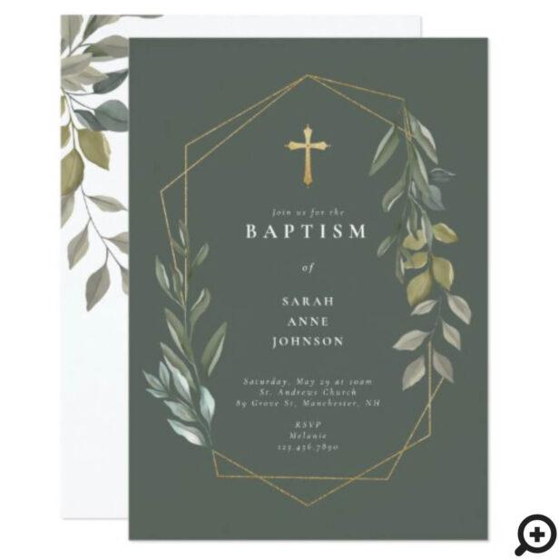 Greenery & Gold Geometric Terrarium Baby Baptism Invitation
