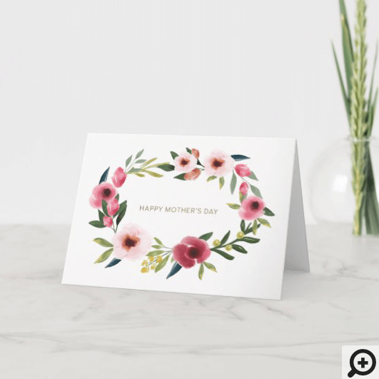 Happy Mother's Day Floral Watercolor Wreath Card