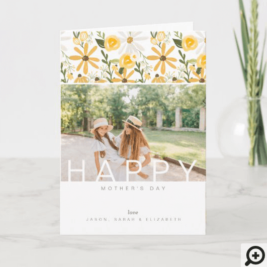 Happy Mother's Day Yellow Wildflower Florals Photo Card
