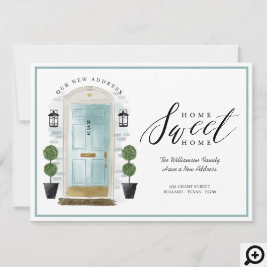 Home Sweet Home - We've Moved Aqua Watercolor Door Announcement