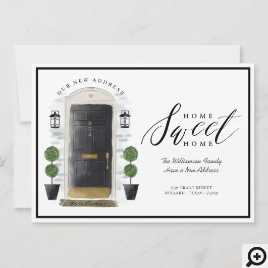 Home Sweet Home We've Moved Black Watercolor Door Announcement