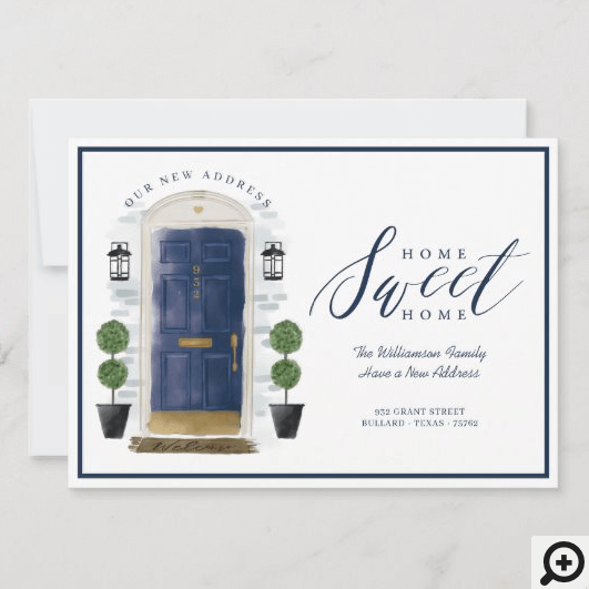 Home Sweet Home - We've Moved Blue Watercolor Door Announcement