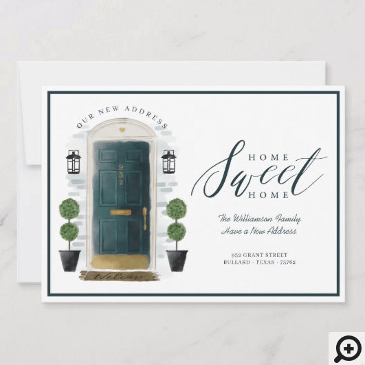 Home Sweet Home We've Moved Green Watercolor Door Announcement