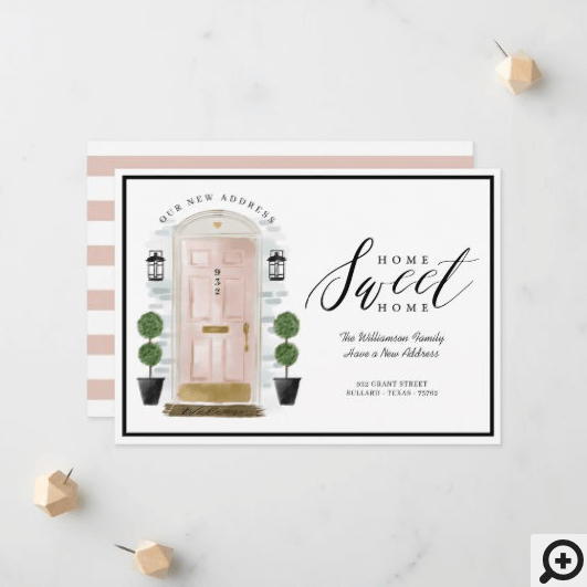 Home Sweet Home - We've Moved Pink Watercolor Door Announcement