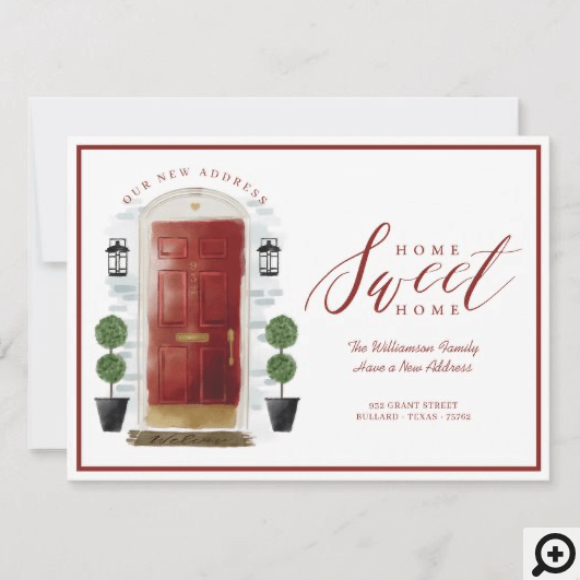 Home Sweet Home - We've Moved Red Watercolor Door Announcement