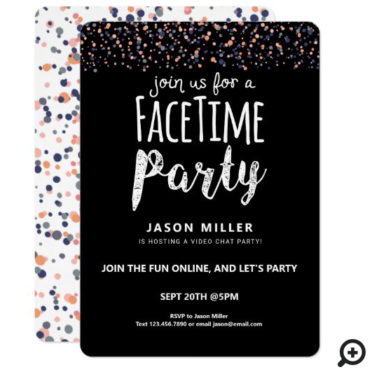 Join Us For A Fun Online Video Chat Party Confetti Black Invitation