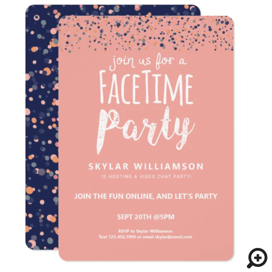 Join Us For A Fun Online Video Chat Party Confetti Pink Invitation