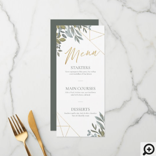 Minimal Leaf Greenery & Gold Geometric Terrarium Menu