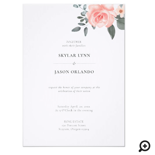 Minimal Watercolor Floral Rose & Greenery Wedding Invitation