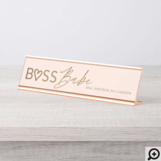 Modern Boss Babe Stylish Blush Pink & Gold Desk Name Plate