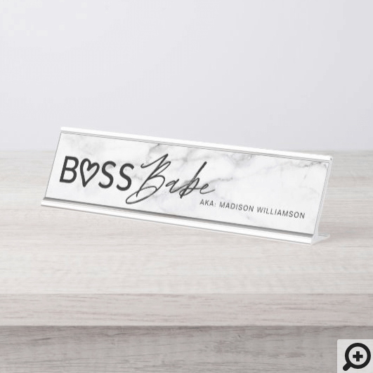 Modern Boss Babe Stylish White Grey Marble & Black Desk Name Plate